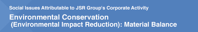 Social Issues Attributable to JSR Group's Corporate Activity /  Environmental Conservation (Environmental Impact Reduction): Material Balance